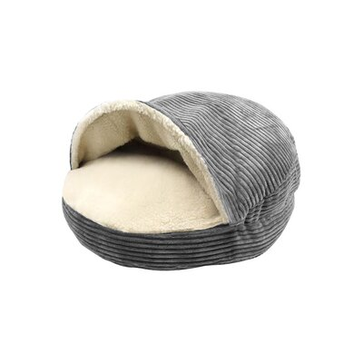 Corduroy Round Cave Hooded Pet Bed with Sherpa Interior Color: Gray