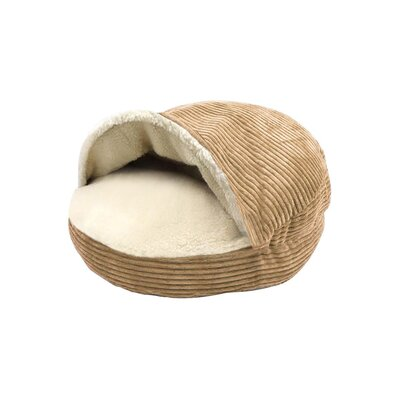 Corduroy Round Cave Hooded Pet Bed with Sherpa Interior Color: Camel