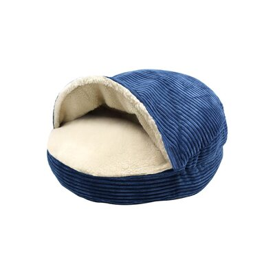 Corduroy Round Cave Hooded Pet Bed with Sherpa Interior Color: Navy