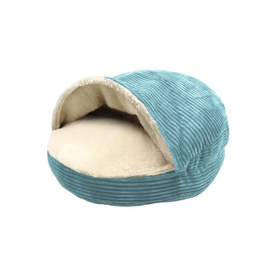 Corduroy Round Cave Hooded Pet Bed with Sherpa Interior Color: Turquoise