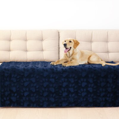 Paw Embossed Throw Blanket Color: Navy
