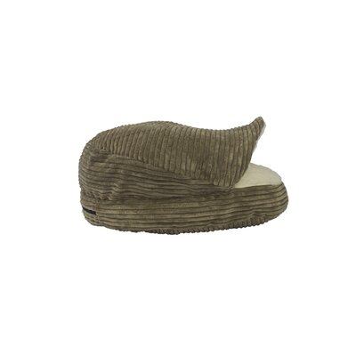 Corduroy Round Cave Hooded Pet Bed with Sherpa Interior Color: Coffee Brown