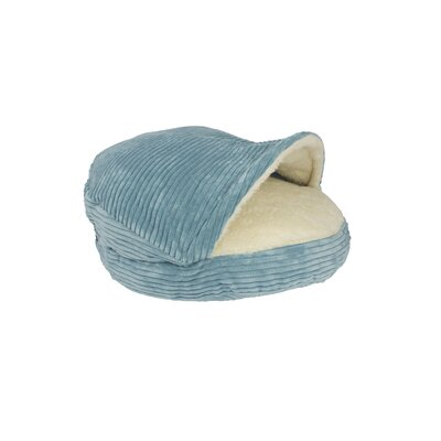 Burton Corduroy Round Cave Hooded Pet Bed with Sherpa Interior Color: Turquoise