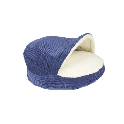 Burton Corduroy Round Cave Hooded Pet Bed with Sherpa Interior Color: Navy