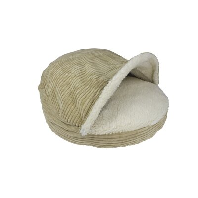 Burton Corduroy Round Cave Hooded Pet Bed with Sherpa Interior Color: Camel