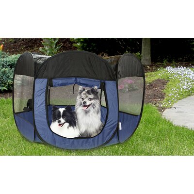 Kravitz Pop Open Collapsible Travel Pet Pen Size: 29 H x 51 W x 51 D, Color: Blue