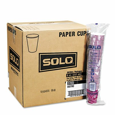 SOLO Cup Company Bistro Design Hot Drink Cups, Paper, 10oz, 1000/Carton SCC370SI