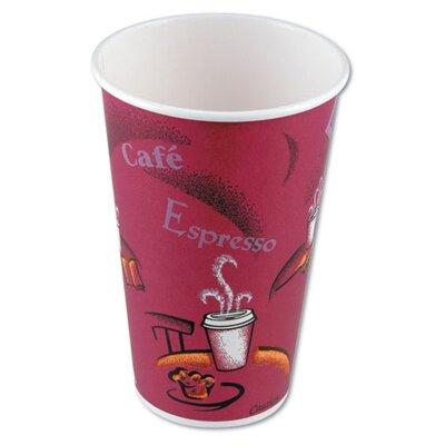Hot Drink Polylined Paper Cups Bistro Design in Maroon SCC412SIN