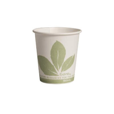 Eco-Forward Treated Paper Cold Water Cups in White / Green SCC44BB