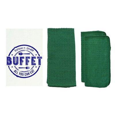 Personalized Buffet 8 Piece Dish Towel Set Color: Hunter Green W85002+-Hunter Green