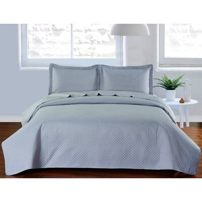 Fashion Classic Coverlet Set Color: Silver Gray, Size: Queen