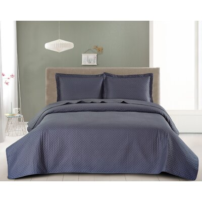Fashion Classic Coverlet Set Color: Dark Gray, Size: King
