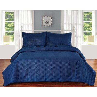 Fashion Classic Coverlet Set Color: Navy Blue, Size: Twin