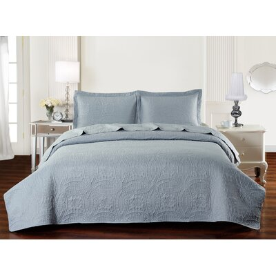 Classic Coverlet Set Color: Silver Gray, Size: King