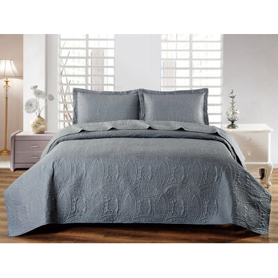 Classic Coverlet Set Color: Dark Gray, Size: Queen