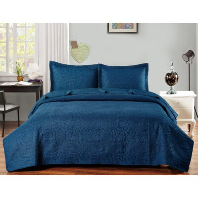 Classic Coverlet Set Color: Navy Blue, Size: Queen