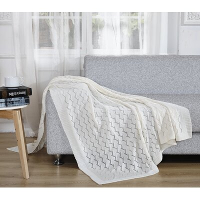 Light Weight Knitted Throw Blanket Color: Snow White