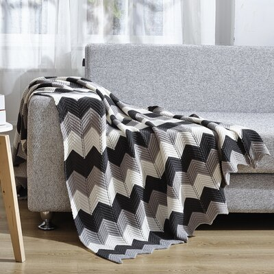 Chevron Knitted Throw Blanket Color: Black/Gray/White