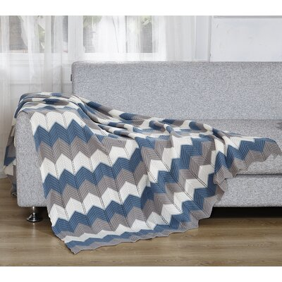 Chevron Knitted Throw Blanket Color: Blue/Gray/White