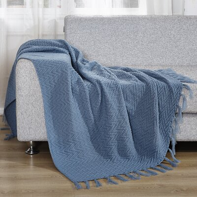 Knitted Throw Blanket Color: Sky Blue