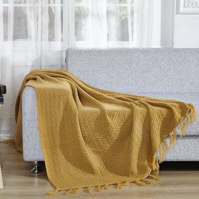 Knitted Throw Blanket Color: Solid Yellow