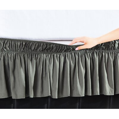 Easy Wrap Platform Free Dust Ruffle Bed Skirt Color: Gray, Size: Queen/King