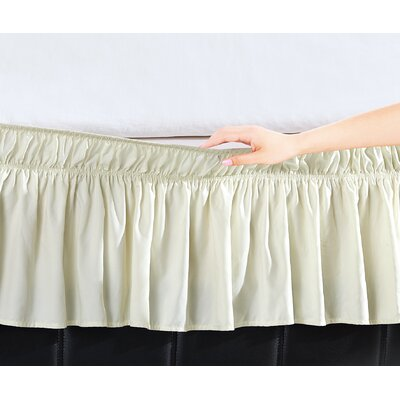 Easy Wrap Platform Free Dust Ruffle Bed Skirt Color: Beige, Size: Twin/Full