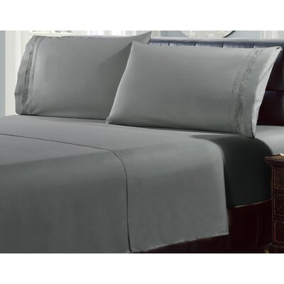 4 Piece Greek Embroidery Sheet Set Color: Dark Gray, Size: Queen