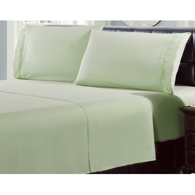 4 Piece Greek Embroidery Sheet Set Color: Sage, Size: Queen