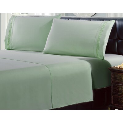 4 Piece Greek Embroidery Sheet Set Color: Light Green, Size: Full