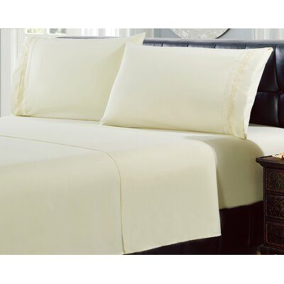 4 Piece Greek Embroidery Sheet Set Color: Linen, Size: Queen