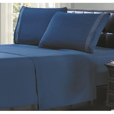 3 Line Embroidery Sheet Set Size: Twin, Color: Navy