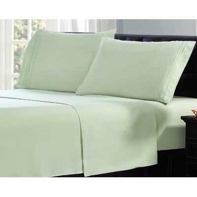 3 Line Embroidery Sheet Set Size: Twin, Color: Light Green
