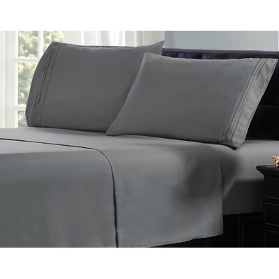 3 Line Embroidery Sheet Set Size: Twin, Color: Dark Gray