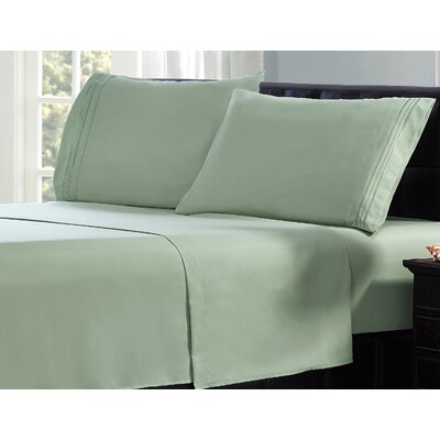 3 Line Embroidery Sheet Set Size: Twin, Color: Sage