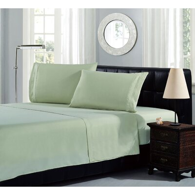 Brick Embroidery Microfiber Sheet Set Size: King, Color: Sage