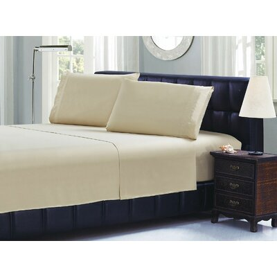 Cable Embroidery Microfiber Sheet Set Size: California King, Color: Camel