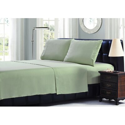 Leaf Embroidery Microfiber Sheet Set Size: King, Color: Sage