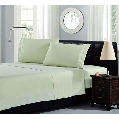 Brick Embroidery 1800 Thread Count Ultra Soft Sheet Set Color: Light Green, Size: California King