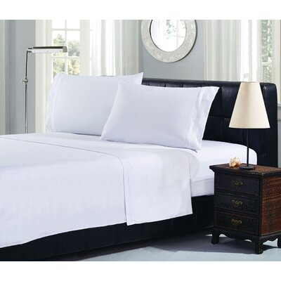 Brick Embroidery 1800 Thread Count Ultra Soft Sheet Set Color: White, Size: Queen