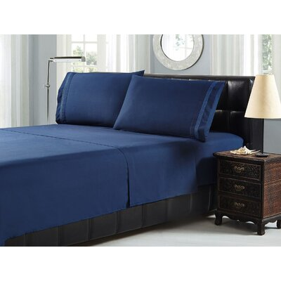 Brick Embroidery Microfiber Sheet Set Size: Queen, Color: Navy