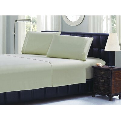 Cable Embroidery Microfiber Sheet Set Size: King, Color: Light Green