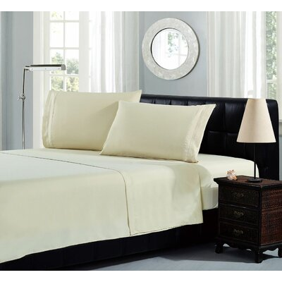 Brick Embroidery 1800 Thread Count Ultra Soft Sheet Set Color: Linen, Size: Queen