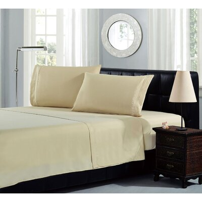 Brick Embroidery Microfiber Sheet Set Size: Queen, Color: Camel