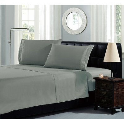 Brick Embroidery 1800 Thread Count Ultra Soft Sheet Set Color: Dark Gray, Size: Queen