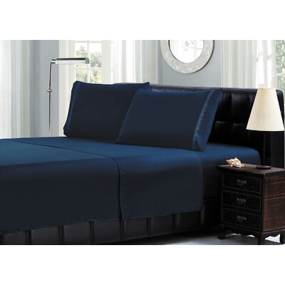 Cable Embroidery Microfiber Sheet Set Size: Full, Color: Navy