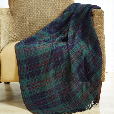 Waffle 100% Cotton Plaid Throw Color: Green