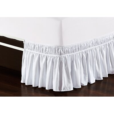 Easy Wrap Platform Free Dust Ruffle Bed Skirt Size: Queen/King, Color: White