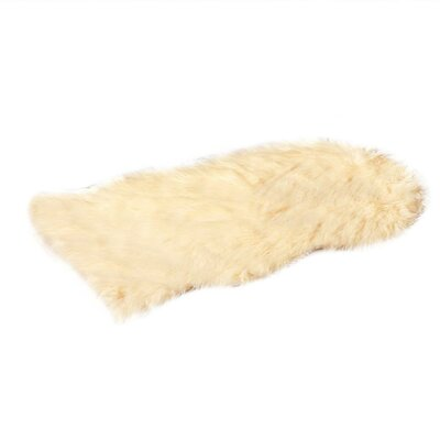 Faux Fur Beige Area Rug
