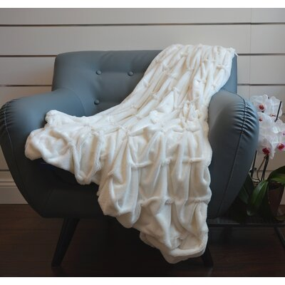 Plush Plaid Throw Blanket Color: White